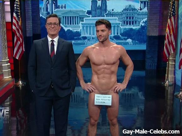 Dan Dexter Nude In Stephen Colberts Live Election  Gay -5333