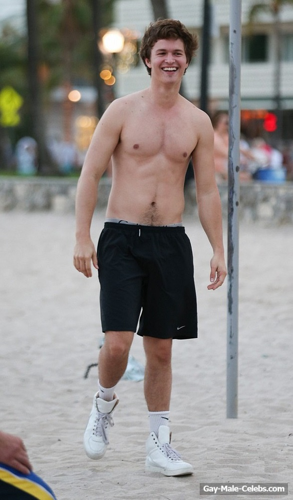 Ansel Elgort Caught By Paparazzi Shirtless On The Beach -2838