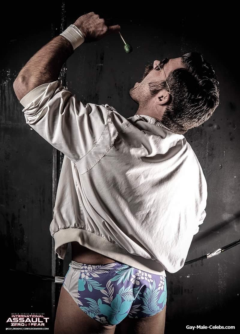 American Professional Wrestler Joey Ryan Almost Naked And Swimming Trunks Photos