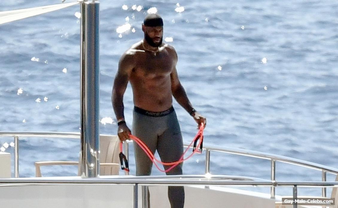 Lebron James Shirtless And Bulge On A Yacht