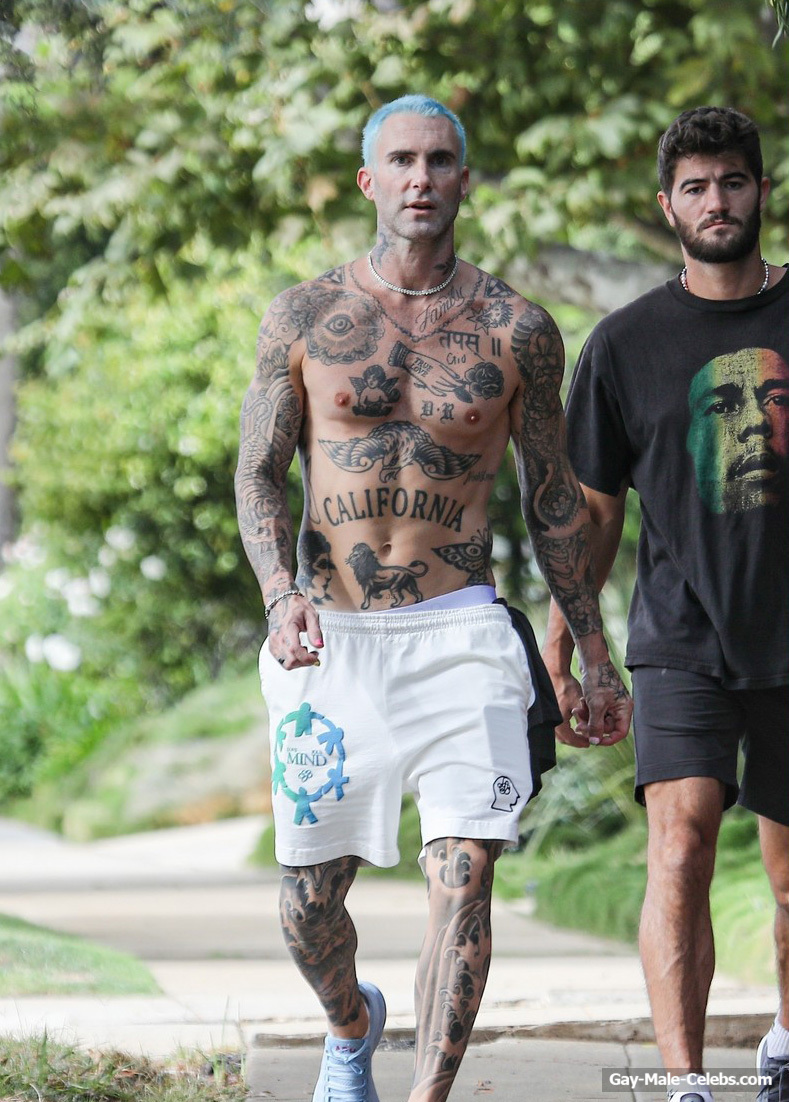 Adam Levine Shows His All Tattoos On The Naked Body