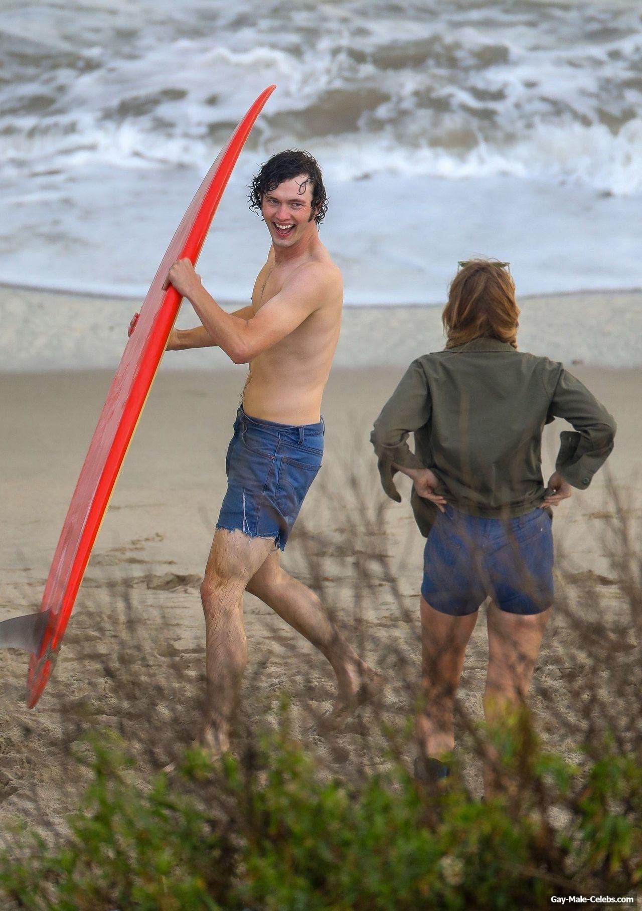 Will Harrison Shirtless On The Beach Behind Scene